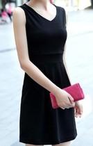连衣裙夏季韩版打底 修身包臀连衣裙夏 纯色丝绸连衣裙v领 无袖背 价格:28.00