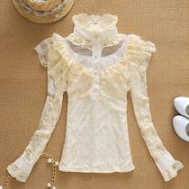 日系甜美利落竖条格纹镂空纯色露肩长袖雪纺韩版双层蕾丝衫白衬衫 价格:49.00