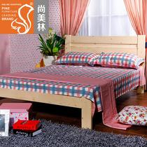尚美林实木床双人单人床1.8大床1.5松木床1米松木家具1.2米儿童床 价格:330.00