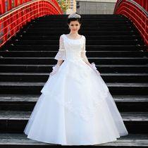 2013新款婚纱礼服韩版齐地一字肩抹胸包肩婚纱双肩喇叭袖孕妇婚纱 价格:288.00