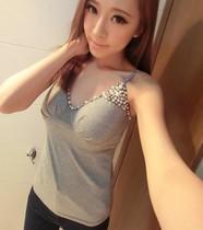 韩国代购性感V领珍珠钉珠带胸垫修身打底吊带小背心上衣 价格:29.00