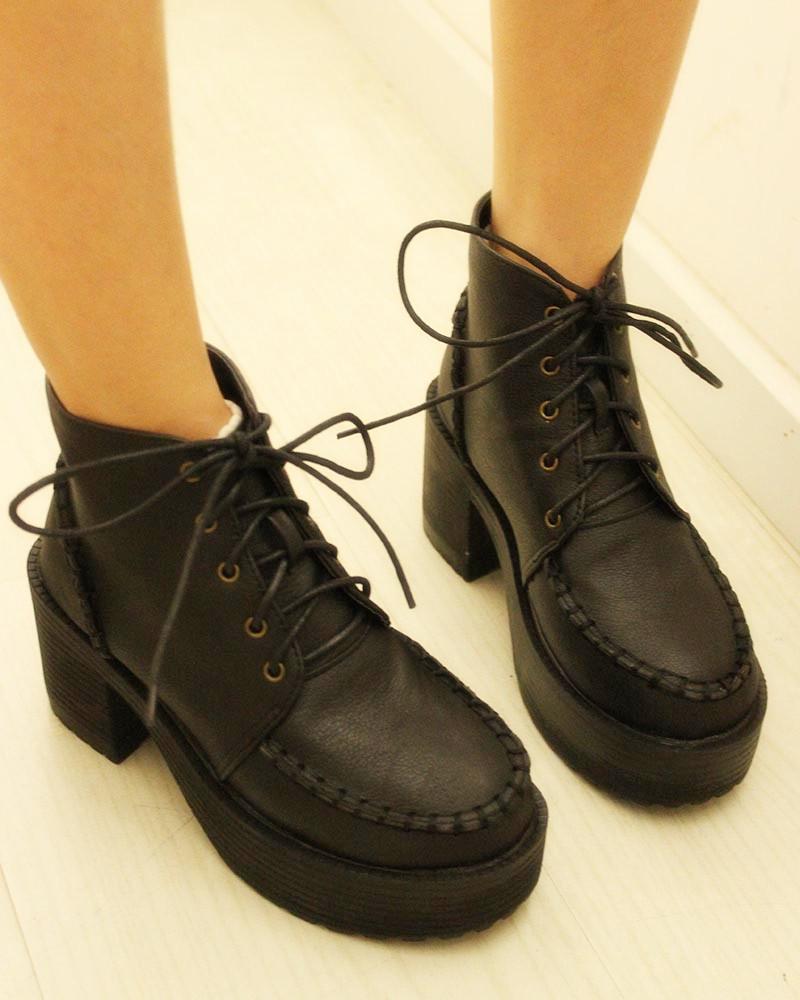 夏季新款秋季复古短靴厚底鞋粗跟鞋机车靴高跟鞋马丁靴子坡跟鞋 价格:72.00
