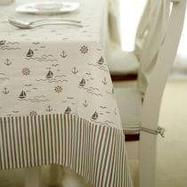 笑笑家居 高档地中海 布艺桌布 餐桌布 条纹帆船拼接 台布 茶几布 价格:108.00