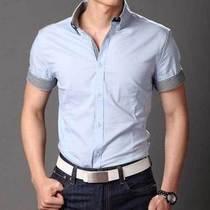杰克琼斯衬衫男士修身短袖纯棉衬衣时尚休闲衬衣英伦衬衫 价格:79.20