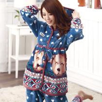 贝妍新品女士秋冬季法兰绒睡衣可爱睡衣女长袖保暖珊瑚绒家居服 价格:128.00