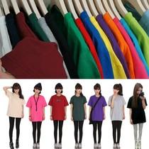 2013韩版大码女装新款情侣装韩国夏装t恤女短袖纯色宽松棉打底衫 价格:9.80