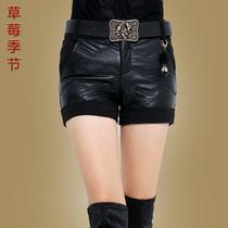 草莓季节 冬装新款时尚百搭显瘦PU皮裤加厚加棉短裤 女 韩版 潮 价格:118.00