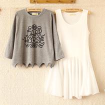 E3800-2013秋新款女装韩版宽松盘绳印花中袖T恤背心裙两件套 0916 价格:59.00