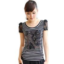 唯品会女装特卖2013新款夏装 韩版显瘦品牌上衣条纹短袖T恤打底衫 价格:25.80