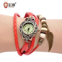 正品伦迪韩国版女表潮流学生真皮带复古手链水钻石英女士手表包邮 价格:29.90