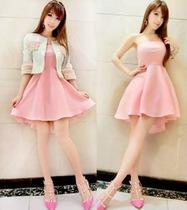 短外套+抹胸裙连衣裙小香风套裙套装新款 两件套连衣裙 X382 价格:78.40