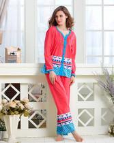 多拉美2013新款秋季女士睡衣针织纯棉印花长袖长裤家居服套装 价格:129.50
