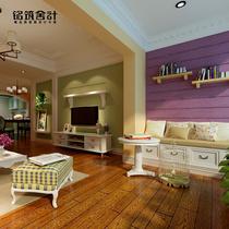 室内家装设计 室内装修设计效果图 时尚田园简欧电视墙 装潢设计 价格:30.00