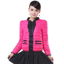 2013新款韩版女装修身羽绒棉服外套荷叶边领时尚休闲短款棉衣 价格:75.00