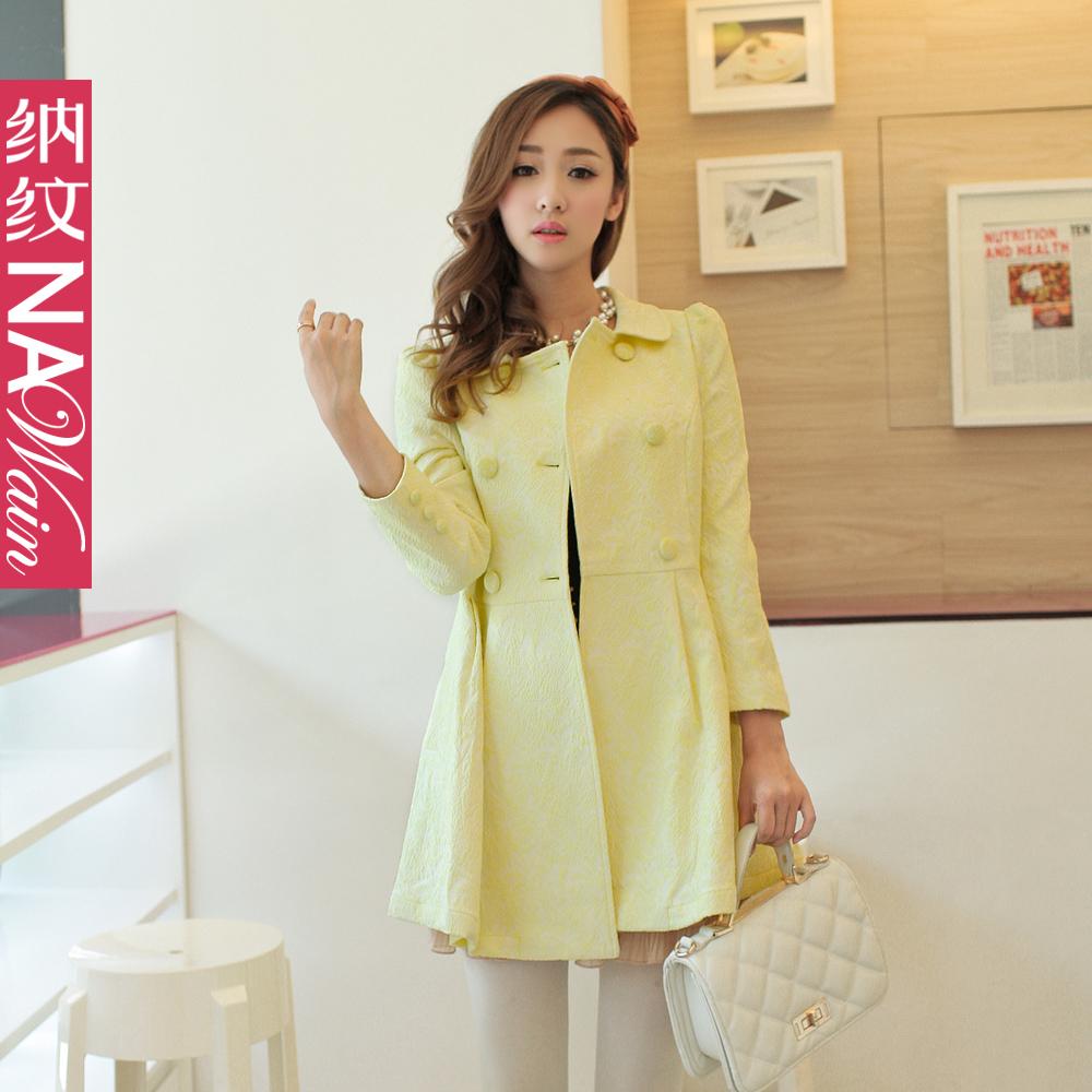 纳纹2013秋装新款 韩版时尚双排扣荷叶领修身风衣 N45002F 价格:322.05