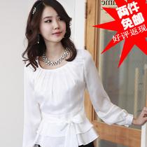 2013春装夏装新款女装韩版淑女泡泡袖上衣长袖缎面雪纺衬衫女衬衣 价格:44.00