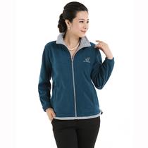 秋装新款运动夹克中年女装休闲外套摇粒绒女上衣中老年服装加大码 价格:56.00
