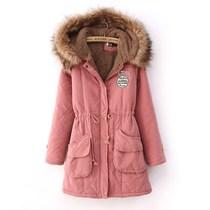 工装棉衣外套女装韩版中长款冬装清仓反季大码军绿色毛领加厚棉袄 价格:128.00