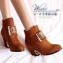 2013秋冬新款女鞋粗跟高跟短靴水钻休闲舒适雪地靴纯色女靴子特价 价格:168.00