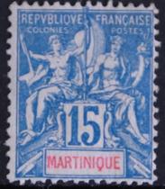 D9592马提尼克1892普票15c蓝轻贴目录32美元 价格:100.00