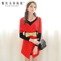 毛衣 女粉红大布娃娃2013秋装韩版长款修身套头蝙蝠袖大毛衣外套 价格:179.00
