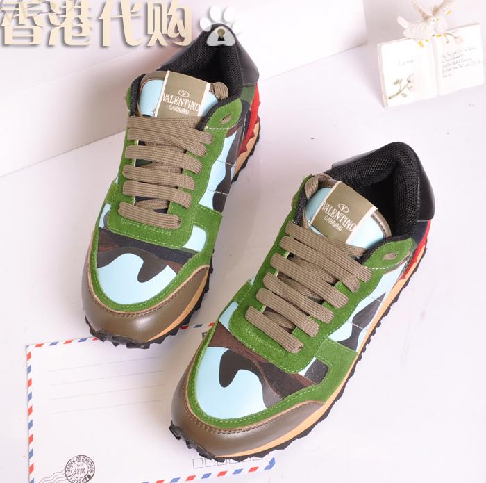 香港代购 欧美潮款男鞋华伦天奴V家 迷彩军彩拼色铆钉板鞋 运动鞋 价格:291.00