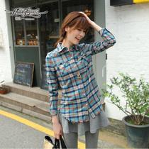 2013秋天装新款女装韩版长袖T恤 格子衬衫 翻领女上衣服RY13C365 价格:128.00