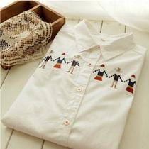 �t特●日式,可爱拉手小人刺绣米白色清新文艺纯棉长袖衬衫 价格:52.00