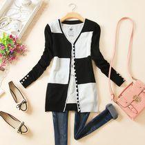 2013秋装新款韩版女装新品格子纹针织衫开衫中长款防晒衣 价格:49.00