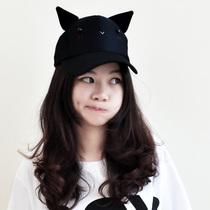 哐花村潮帽子夏天卡通男女士韩版耳朵棒球可爱创意黑猫鸭舌帽 价格:33.60