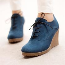 春款新款平底休闲单鞋女鞋子厚底松糕鞋高跟鞋系带坡跟鞋及踝裸鞋 价格:48.00