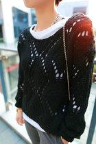 【苏安家】文艺欧美风简约2013秋季女装新款宽松短款镂空套头毛衣 价格:88.00