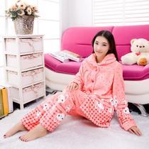 加厚法兰绒女士睡衣套装 女长袖睡衣秋冬季家居服 多款任选 价格:69.43