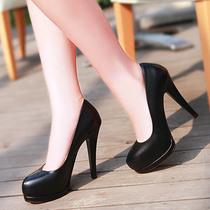 紫郁2013秋季新款欧美真皮高跟浅口单鞋牛皮防水台粗跟工作鞋女鞋 价格:168.00