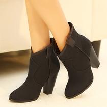 潮2013春秋季新款女鞋欧美粗跟短靴单靴子高跟裸靴马丁靴及踝靴 价格:79.00