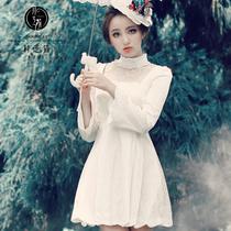 月芝猫原创 2013秋装新款女装公主甜美蕾丝复古优雅长袖连衣裙127 价格:219.00