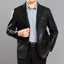 新款海宁男装皮衣男真皮绵羊皮西服领商务休闲男式皮衣皮外套男潮 价格:268.93