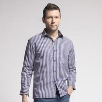 2013秋冬装加厚加绒男式商务休闲保暖衬衫衣 吉布提牛仔紫白条纹 价格:88.00