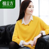 棉立方2013秋冬新品 高端定制优雅宽松型圆领纯羊绒衫女款 价格:668.00