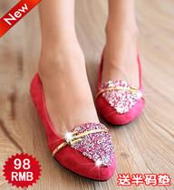 包邮2013春秋新款韩版尖头女单鞋婚鞋水钻平跟绒面工作鞋平底女鞋 价格:49.00