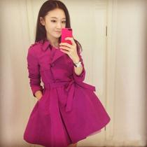 购时尚2013新款秋装风衣 韩版双排扣翻领修身风衣女装外套明星款 价格:188.00