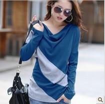2013女装韩版大码t恤女士长袖春秋新品质上衣服长款打底衫 价格:39.00