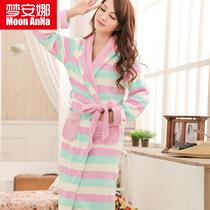梦安娜品牌 秋冬女士加厚珊瑚绒条纹睡袍 可爱公主浴袍睡衣家居服 价格:88.00