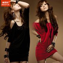 2013新款夏装韩版夜店性感包臀修身露肩红色洋装吊带连衣裙吊带裙 价格:39.00