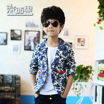 包邮童装 2013男童秋装新款上衣 男孩青花瓷外套 儿童韩版小西装 价格:35.00