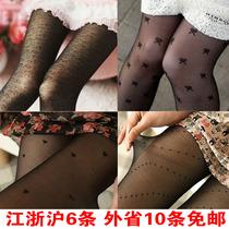 超薄款提花丝袜黑白色连裤袜女防勾丝打底袜子日系纹身袜厂家批发 价格:2.59