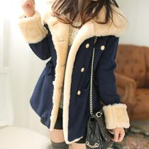 年度盛典 秋冬新款韩版修身显瘦双排扣学院风毛呢大衣外套女WT040 价格:50.00