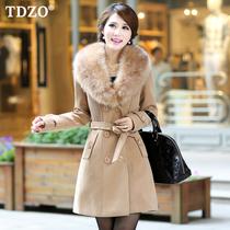TDZO 2013秋冬装 韩版双排扣中长款毛领加厚毛呢外套 女 呢大衣 价格:198.00