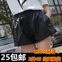 秋冬季韩版皮裤短裤女装2013新款靴裤大码宽松显瘦PU松紧腰潮时尚 价格:25.00