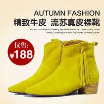 2013新款欧美秋冬靴流苏中跟粗跟靴子短靴及踝靴裸靴真皮女靴 价格:198.00